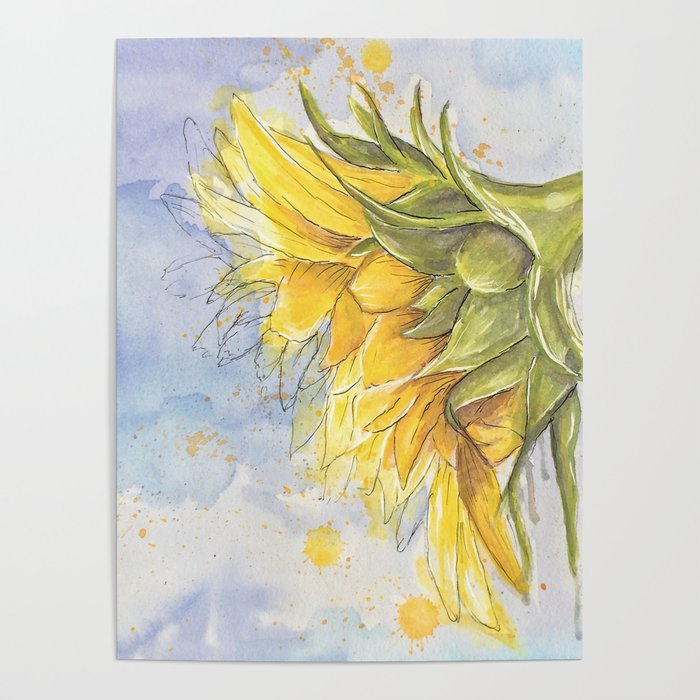 Helianthus annuus: Sunflower Abstraction Poster