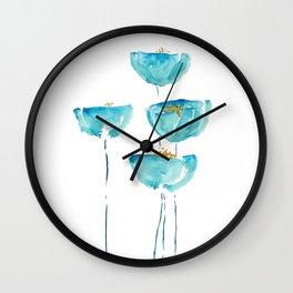 blue poppy watercolor Wall Clock