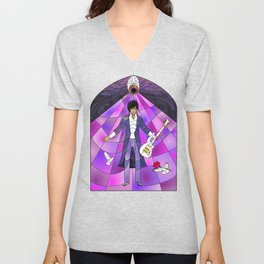 Purple Messiah Stained Glass Unisex V-Neck