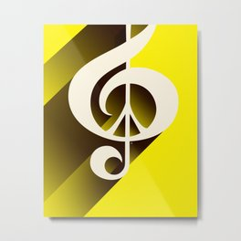 Yellow Retro Shadow Music & Peace Metal Print