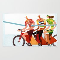 tour de france Area & Throw Rugs featuring Bicycle Tour de France Tandem for Three by Gregory Baldwin