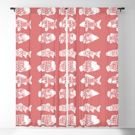 White Floral Fish Coral Pink Blackout Curtain