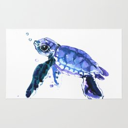 Cute Baby Turtle, blue  turtle art, turtle illustration nursery children gift Rug