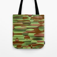 Trendy Green and Brown Camouflage Spheres Tote Bag