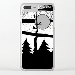 Raven Tree Monochrome Clear iPhone Case