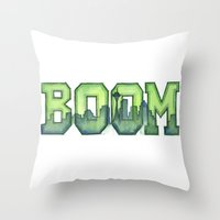 seahawks Throw Pillows featuring Legion of Boom Seattle 12th Man Art by Olechka