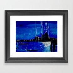 venezia luce della luna Framed Art Print