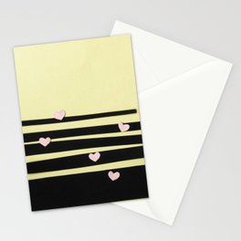 Pink Hearts on Black Paper Cut Stationery Cards