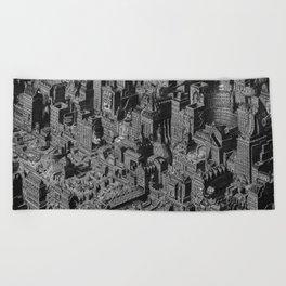The Fantasy City. Urban Landscape Illustration. Beach Towel
