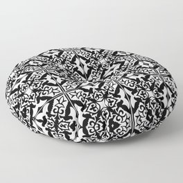 Moroccan Tile Pattern in Black and White Floor Pillow