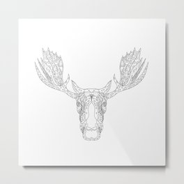 Bull Moose Head Doodle Metal Print