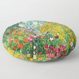 Flower Garden by Gustav Klimt vibrant Floor Pillow