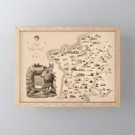 Gastronomy Map Of Fance 1809 Framed Mini Art Print