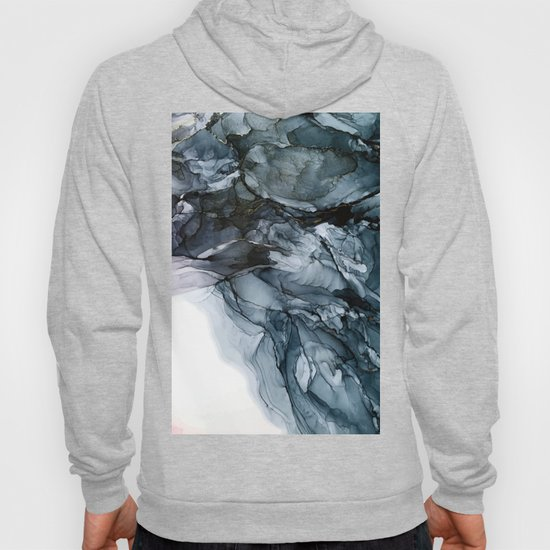 Dark Payne's Grey Flowing Abstract Painting by elizabethschulz