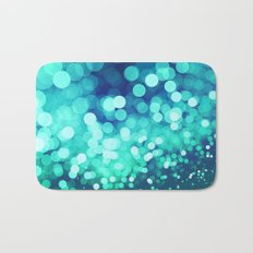 Aqua Blue Glitter Wave Bath Mat