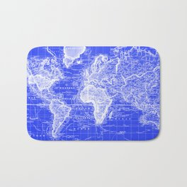 Vintage Map of The World (1833) Blue & White Bath Mat