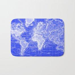 Vintage Map of The World (1833) Blue & White Bath Mat