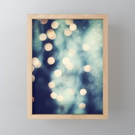 Bokeh Lights Sparkle Photography, Navy Gold Sparkly Abstract Photograph Framed Mini Art Print