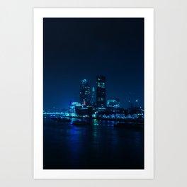 The Blue City Night (Color) Art Print