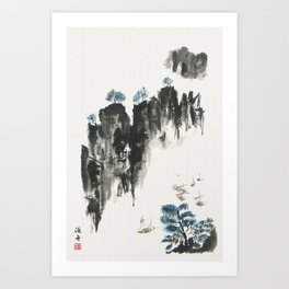 Crusing on the river Art Print
