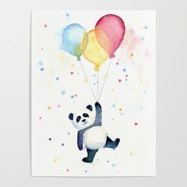 Birthday Panda Balloons Cute Animal Watercolor Poster