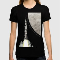Apollo Rocket Black X-LARGE Womens Fitted Tee