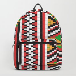 Slavic cross stitch pattern with red green orange black white Backpack
