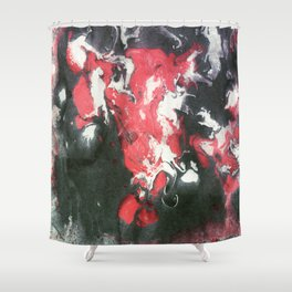 Marbled Ink - Pink Black & White Shower Curtain