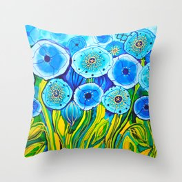 Field of Blue Poppies #1 Throw Pillow