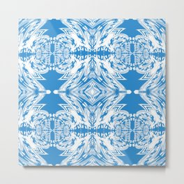 Blue and White Classy Psychedelic Metal Print