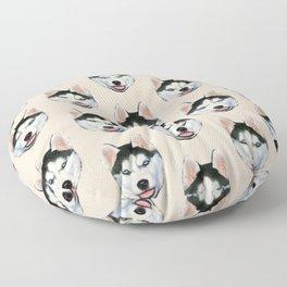 cute puppy husky dog pattern Floor Pillow