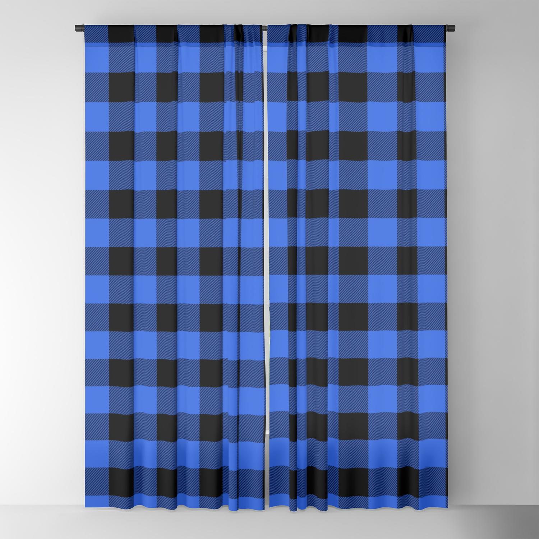 Royal Blue And Black Lumberjack Buffalo Plaid Fabric Blackout Curtain By Podartist