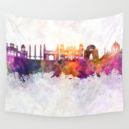Karachi skyline in watercolor background Wall Tapestry