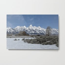 John Moulton Barn and the Grand Tetons Metal Print