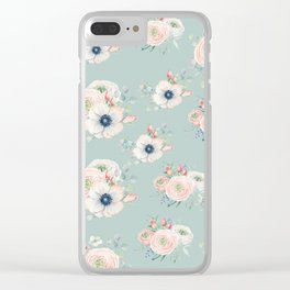 Dog Rose Pattern Mint Clear iPhone Case