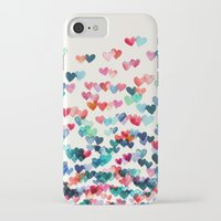 teal iPhone & iPod Cases featuring Heart Connections - watercolor painting by micklyn