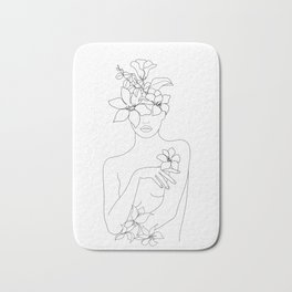 Minimal Line Art Woman with Flowers IV Bath Mat
