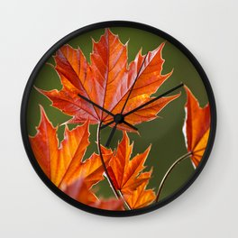 Abstract Maple Leaves Wall Clock
