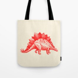 Red Stegosaurus  Tote Bag