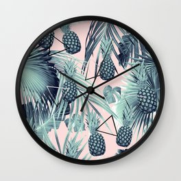 Tropical Pineapple Jungle Geo #2 #tropical #summer #decor #art #society6 Wall Clock