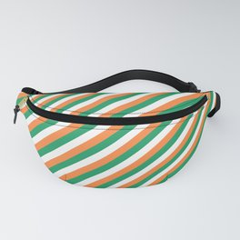 Irish Tricolour Candy Cane Stripes Green Orange and White Irish Flag Fanny Pack