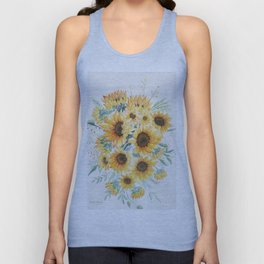 Loose Watercolor Sunflowers Unisex Tank Top