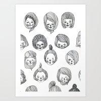 girls Art Prints featuring Girls by Young Ju