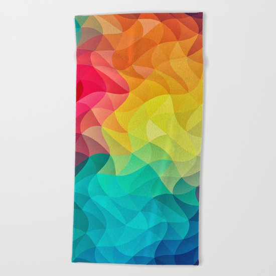 Abstract Color Wave Flash Beach Towel