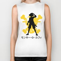 luffy Biker Tanks featuring Monkey D. Luffy by KerzoArt