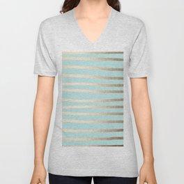 Simply Drawn Stripes White Gold Sands on Succulent Blue Unisex V-Neck