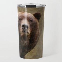 Brown Bear Stare Travel Mug