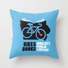 Bikes Books Iowa City Public Library Throw Pillow