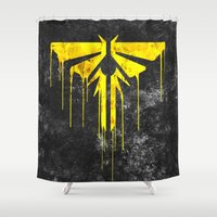 last of us Shower Curtains featuring The Last Of Us Fireflies (Yellow) by Some_Designs