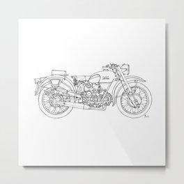 MOTO GUZZI AIRONE 250 1939 Original handmade drawing, gift for bikers Metal Print